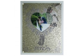 Cadre en verre 40 x 50 cm en verre avec coeur pour une photo