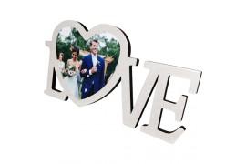 Cadre photo en MDF Love 40 x 20,5 cm légèrement bombé effet cristal