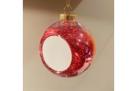 Boule de Noël en plastique Ø 8 cm aux cheveux d'anges rouges (vendu à l'unité)