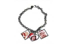 Bracelet fantaisie en métal argenté avec 3 pendentifs 1 coeur et 2 carrés (vendu à l'unité)