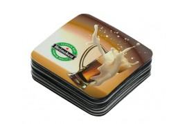 Dessous de verre en tissu blanc brillant carré 9,5 x 9,5 cm (vendu à l'unité)