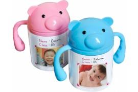 Gourde pour enfant en polymère blanc brillant - Coloris bleu ou rose (vendu à l'unité)