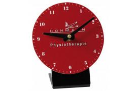 Horloge de table ronde plastique Ø 12 cm avec support noir (vendu à l'unité)