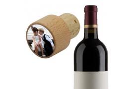 Bouchon en liège pour bouteille de vin avec plaque alu ronde