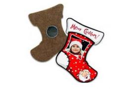 Magnet en MDF forme chaussette de Noël 6 x 7 cm (vendu à l'unité)