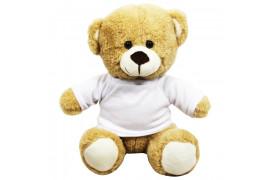 Peluche Ours brun clair avec mini tee-shirt (vendu à l'unité)