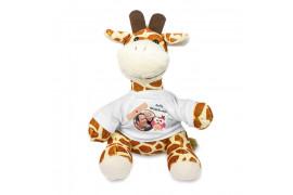 Peluche girafe H 22 cm jaune et marron