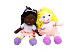 Peluche poupée H 35 cm avec robe rose et blanche - 2 coloris