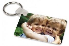 Porte-clé aluminium blanc brillant rectangulaire 4 x 5,7 cm