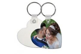 Porte-clé en MDF blanc brillant coeur marquage recto/verso (vendu à l'unité)