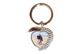 Porte-clé en métal argent brillant forme coeur (vendu à l'unité)