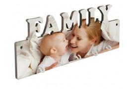 Panneau porte-clés mural FAMILY MDF 27,5 x 10 cm avec 5 crochets (vendu à l'unité)