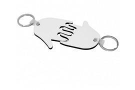 Porte-clé en MDF blanc brillant 2 mains (vendu à l'unité)