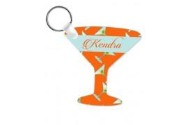 Porte-clé en MDF blanc brillant verre à cocktail (vendu à l'unité)