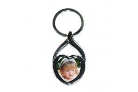 Porte-clé original coeur en métal chromé avec plaque alu ronde 23 mm (vendu à l'unité)
