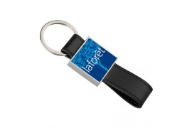 Porte-clé en métal et simili cuir carré avec plaque aluminium (vendu à l'unité)