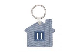 Porte-clé en MDF blanc brillant format maison