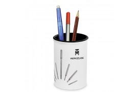 Pot à crayon en céramique blanche H 12,5 cm intérieur noir (vendu à l'unité)
