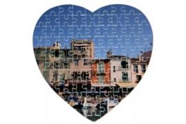 Puzzle blanc brillant format coeur 19 x 19 cm épaisseur 2 mm - 75 pièces (vendu à l'unité)