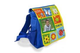 Sac à dos enfant MAX 210 x 265 x 105 mm avec rabat interchangeable - 2 coloris : bleu - rouge (vendu à l'unité)