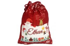 Sac de Noël en toile de chanvre rouge 50 x 66 cm pour sublimation (vendu à l'unité)