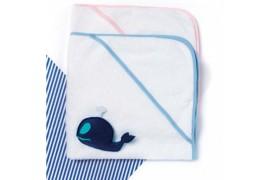 Sortie de bain K124 en éponge pour enfants avec capuche et bords colorés