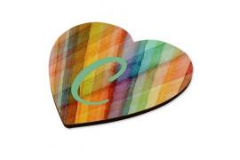 Dessous de verre en MDF blanc brillant format cœur 9,9 x 9,5 cm dessous liège (vendu à l'unité)