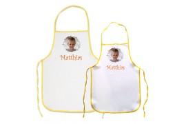 Tablier de cuisine enfant blanc avec bordure jaune 35 x 50 cm - 50 x 60 cm (vendu à l'unité)