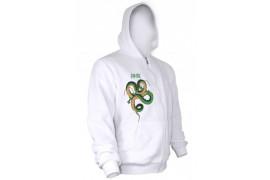 Sweat-shirt blanc zippé à capuche à manches longues 330 gr/m²