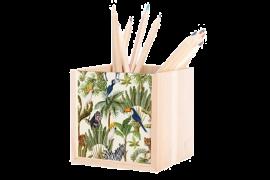 Pot à crayon en bois 10 x 10 x 10 cm avec plaque HDF personnalisable (vendu à l'unité)